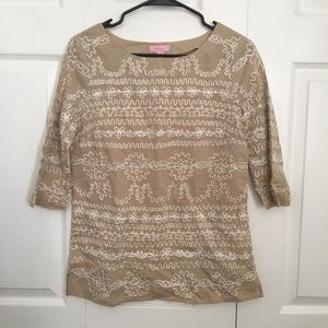 Lilly Pulitzer Tan Embroidered Tunic Top 2